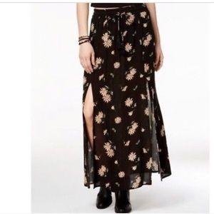 American Rag Black Floral Double-Slit Maxi Skirt